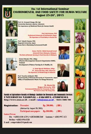 "The 1st International Seminar ""ENVIRONMENTAL AND FOOD SAFETY FOR HUMAN WELFARE"""